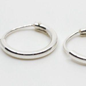 Silver earring set - heart studs and huggie hoops